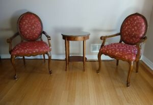 Victorian chairs and lamp table
