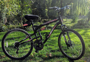 Mountain bike with shocks and front flywheel