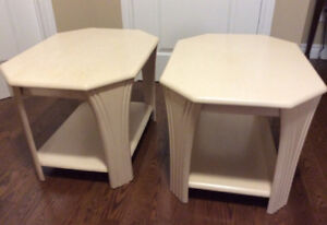 Bleached Oak Solid Wood End Tables
