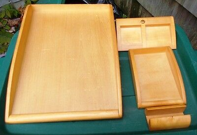 4 Pc. Wooden Desk Organizers Business Card Letterpaper Post-it Holders