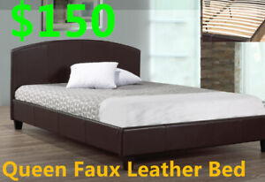 Deal of the week, Queen Faux Leather Platform Bed For only $150