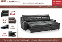 Genuine leather sectional sofa and chaise with hide-a-bed