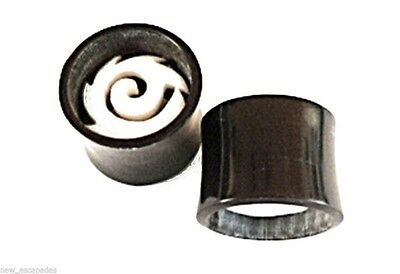Bone Inlay Body Jewelry Tunnels - PAIR-Horn w/Tribal Bone Inlay Saddle Flare Ear Tunnels 12mm/1/2