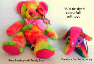 Tie Dyed teddy bear and puppy, rainbow colours, $20 each