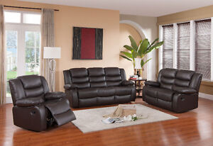 $$1699 WAREHOUSE SALES BRAND NEW 3PC REAL LEATHER RECLINER SET