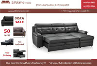 Genuine leather sectional sofa  with hide-a-bed