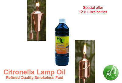 12 X 1 LITRE CITRONELLA OUTDOOR LAMP TORCH OIL  PEST REPELLENT