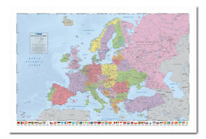 Political-Map-Of-Europe-Poster-With-Flags-White-Framed-Ready-To-Hang-Frame