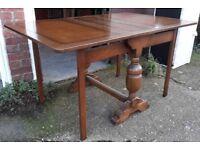 Vintage Oak Drop-Leaf Table On Double Gate-Leg Support
