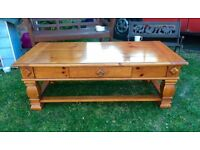 Gorgeous large chunky solid pine coffee table