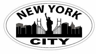 City Sticker Bumper (New York City Oval Bumper Sticker or Helmet Sticker D2916 Euro Oval )