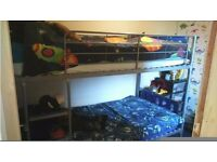 Bunk Beds With Blue Head & Foot Boards, Silver Metal - Excellent Condition