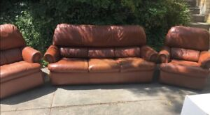 Leather lounge suite couches