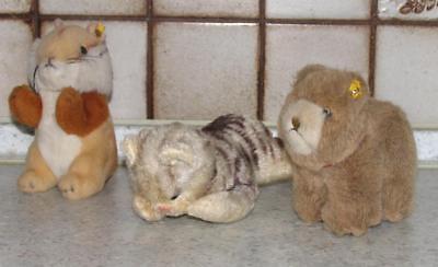 3x STEIFFTIER / Stofftier davon 1 Katze + 1 Hund + 1 Hamster von STEIFF