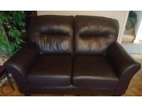 Premium leather 2 seater sofa and 2 armchairs