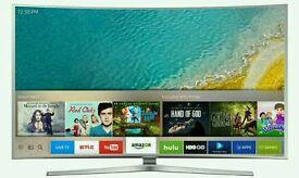 "Samsung UE65KU6500 65"" Curved 4K HDR Ultra-HD Smart LED TV 1600 PQI Silver screen mirror."
