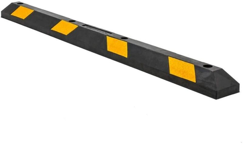 Heavy Duty High Visibility Rubber Parking Curb w/ Pre-Drilled Holes (72 in)