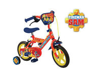 Original Fireman Sam 12 Inch Kids Bike Bicycle Stabilisers Tyres New In Box 12""