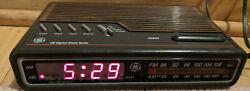 Vintage GE Digital Alarm Clock Radio - Woodgrain Model 7-4612B ~ TESTED WORKS