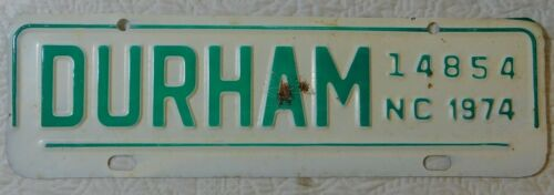 Vintage 1974 Durham North Carolina CITY TAX License Plate #14854 NC tag topper