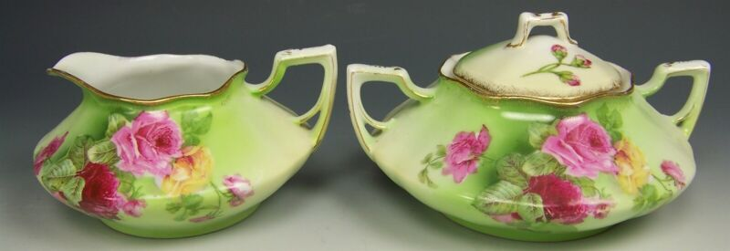 VINTAGE HAND PAINTED COLORFUL ROSES CREAMER SUGAR SET 1890-1920