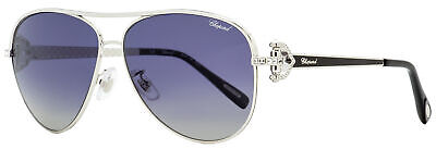 Chopard Aviator Sunglasses SCHC17S 583P Palladium/Black Polarized 59mm (Chopard Sunglasses For Women)