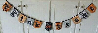 Halloween Garland Fabric Pennant gothic orange black quilted handmade wall decor