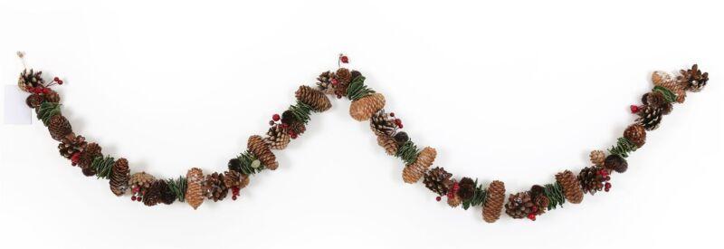 Christmas+Holly+Berry+Wreath+Garland+Hanging+Tree+Decor+Pine+Cone+Festive+Xmas