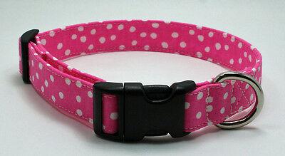 Polka Dot Pink & White Fabric Dog Collar Adjustable Handmade Custom Designer