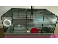 Dwarf hamster cage with accessories