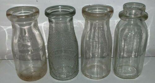 4 Vintage Half Pint Milk Bottles
