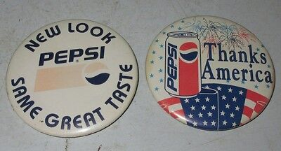 "Vintage Pepsi-Cola 3"" NEW LOOK & THANKS AMERICA Pinback Button Pin Set Employee"
