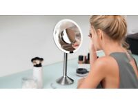 Simplehuman professional sensor mirror - never used - 20cm round, 5x and 10x magnification