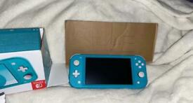 Nintendo switch lite turquoise boxed and case