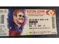 One Elton John ticket. £50. Pitch seat