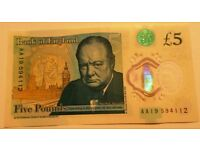 NEW Polymer Five Pound Note £5.00 AA19 594112