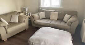 3 seater sofa, arm chair and pouffe for sale