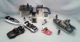 Large Playmobil Police Station, Boat and Cars - Bundle/Joblot + 16 Figures.