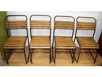 Set of four vintage stacking chairs antique industrial slatted garden metal kitchen dining wooden