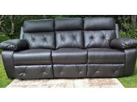 Ex-display 3 Seater Brown Leather Manual Reclining Sofa