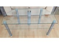 TV Stand. Glass and brushed steel, 3 shelves.