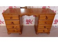 """Vogue DUCHESS quality Pine Dressing table with 8 drawers - W52"""" x H28"""" x D16"""""""