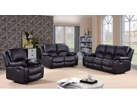 Valenia 3 & 2 Black Luxury Recliner Sofa Set Bonded Leather With Pull Down Drink Holder. UK Delivery