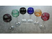 Set of 6 vintage/retro cut glass coloured wine glasses
