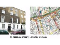 Superb office space in Fitzroy Street W1. Self contained room for 3 desks with meeting rooms to hire