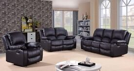 Toro 3 & 2 Black Bonded Leather Luxury Recliner Sofa Set With Pull Down Drink Holder. UK Delivery!
