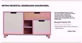 BRAND NEW RETRO PEDESTAL SIDEBOARD - OAK