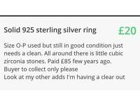 925 solid sterling silver ring