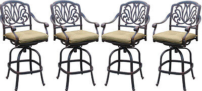 Patio bar stool set of 4 Elisabeth cast aluminum Outdoor swivel Barstools Bronze