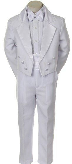 New Children Formal Tuxedo bowtie 5-PC Dress Suit Set White sizes S-XL, 2T-20